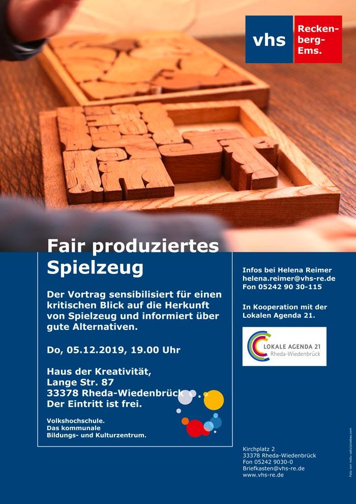 Plakat Vortrag Fair produziertes Spielzeug
